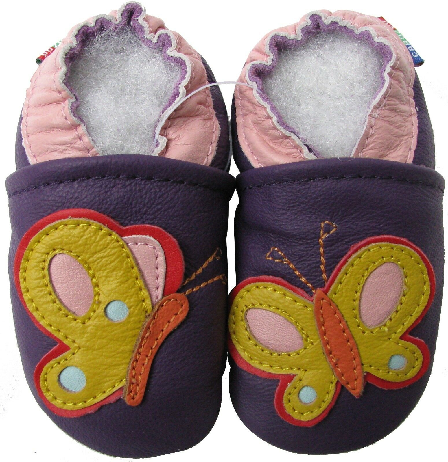 carozoo cow brown 18-24m C1 soft sole leather baby shoes slippers