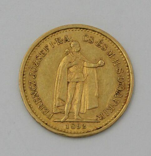 1892 Hungary Gold 10 Korona Coin