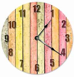 YELLOW ORANGE WOOD Boards Clock - Large 10.5 Wall Clock - 2179