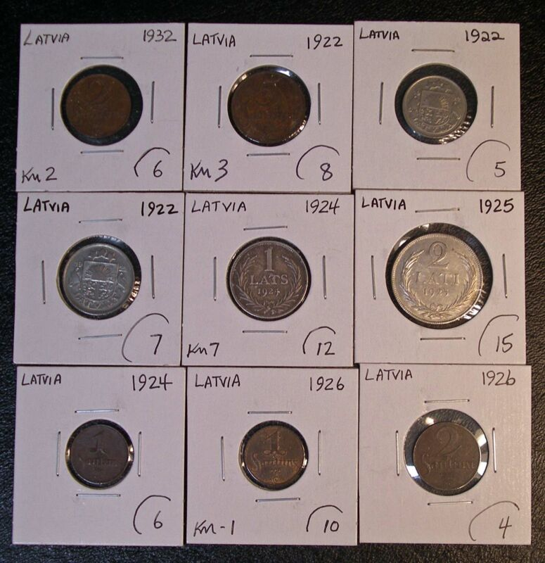 9 coin LATVIA lot