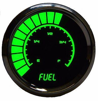 Fuel Gauge Bezel - Analog Bargraph FUEL GAUGE Universal GREEN LEDs! Chrome Bezel 2-1/16 in. 52mm
