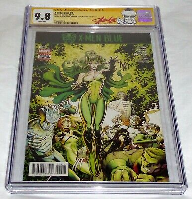 X-Men Blue #9 CGC SS Signature Autograph STAN LEE ARTHUR ADAMS Marvel Comics 9.8