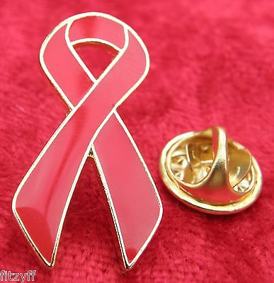 Red Ribbon Lapel Pin Badge Awareness Brooch