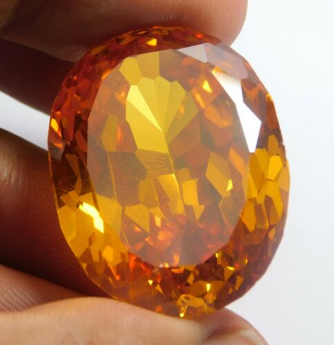 120.20Ct  Natural Translucent Oval Cut Cambodian Yellow Zircon Loose Gemstone
