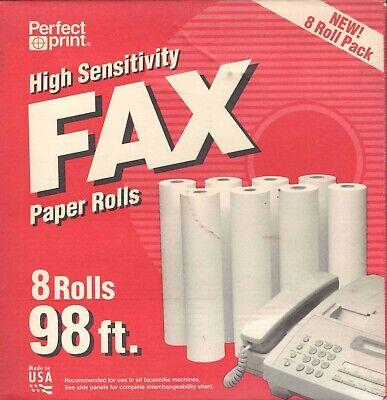 Perfect Print High Sensitivity 8 Fax Paper Rolls Unopened Box