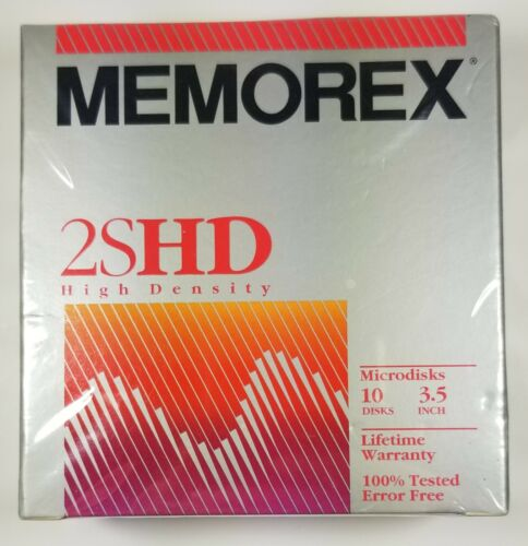"Memorex 2SHD 3.5"" High Density Microdisks New 10 Sealed Vintage"