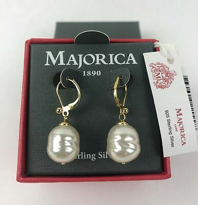 Majorica 18k Gold Plated Baroque Simulated Pearl 12 mm Drop Earrings - NEW Baroque Pearl Drop Earrings