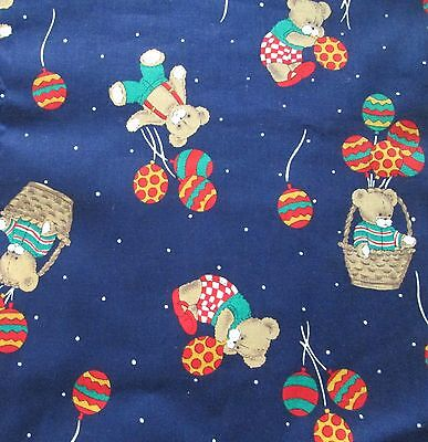 (Teddy Bear Balloons Cotton Quilt Craft FABRIC by the Half Yard Cuts Navy Blue )