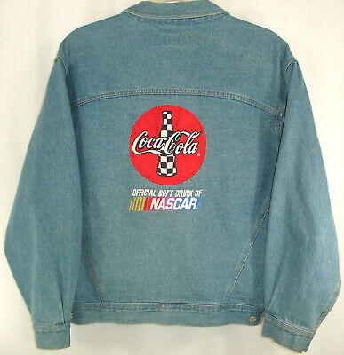 Vintage Coca Cola Nascar Blue Denim Jacket Rivers End Size XL