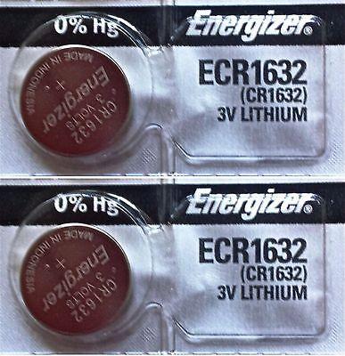 2 Piece FRESH ENERGIZER CR1632 ECR1632 1632 3V Lithium Coin Battery Expire 2025