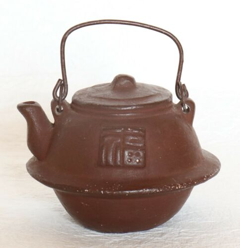 Japanese Clay Bell Tea Pot Kettle with Iron Handle Brown Dorei Signed Vintage