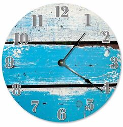 BLUE WOOD SLATS Clock - Large 10.5 Wall Clock - 2067