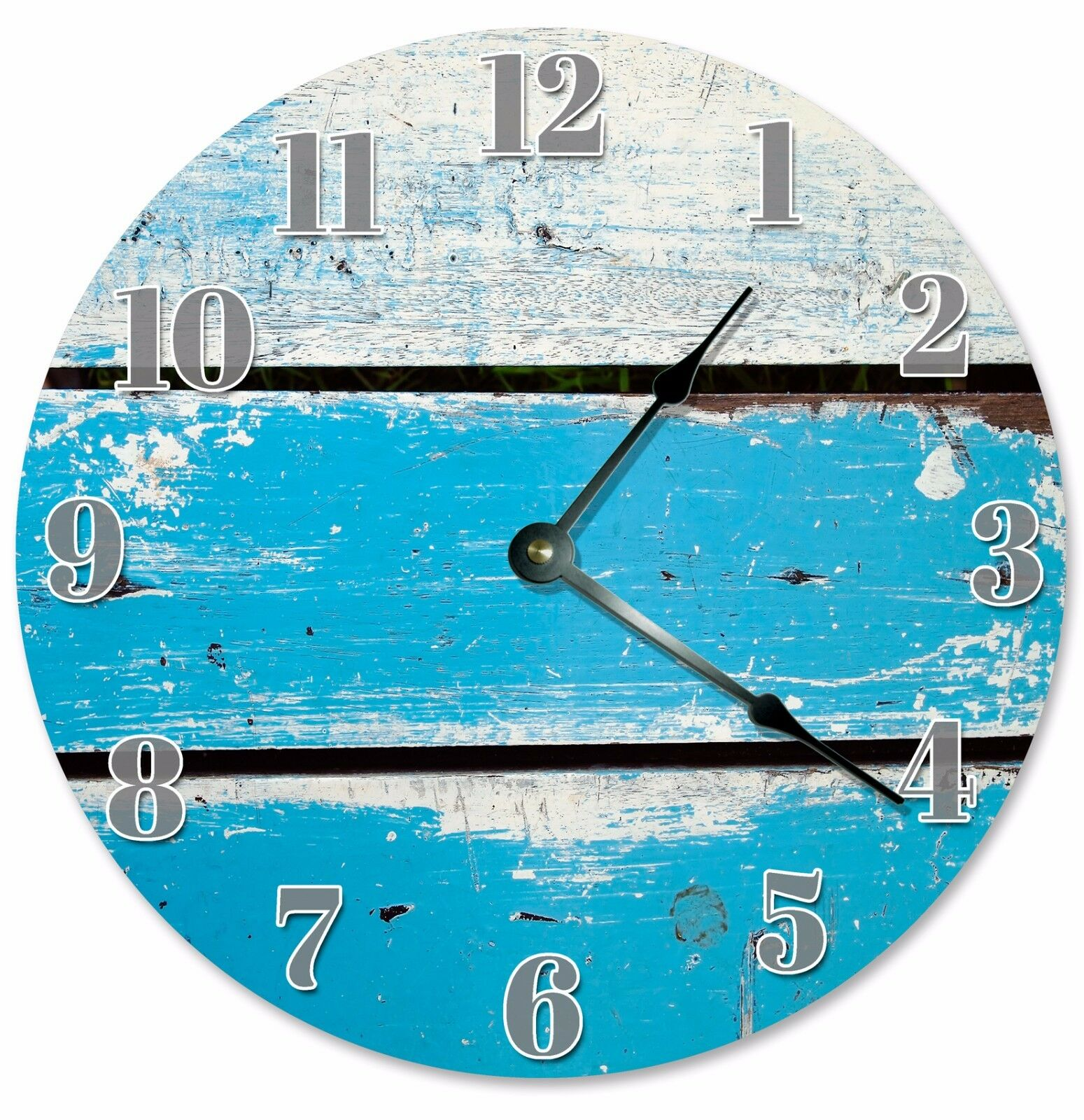 "BLUE WOOD SLATS Clock - Large 10.5"" Wall Clock - 2067"