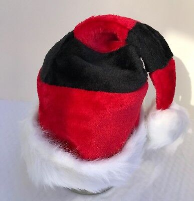Santa Hat Black and Red Striped Plush Sz S/M Children Teens Holiday Party Cap