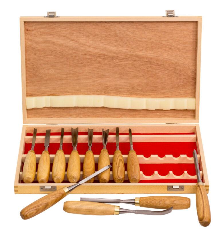 12pcs Professional Woodworking Gouges Carving Chisel Tool Set w/ Ash Wood Handle