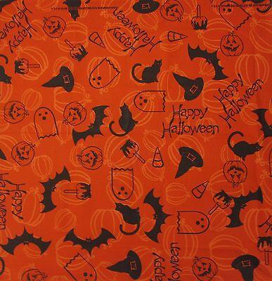 New MTL® Unisex Happy Halloween Bats Pumpkins Black Cats Bandana USA Made - Halloween Bandanas