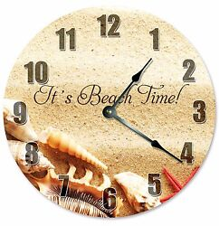 IT'S BEACH TIME Beach Décor Clock - Large 10.5 Wall Clock - 2278