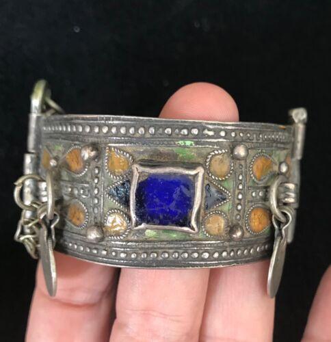 (B) Antique Enamel Silver Bracelet Morocco Berber