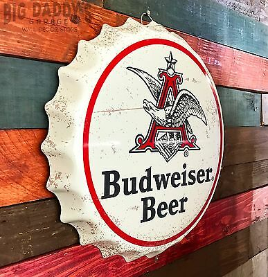 "Retro 15"" Round Budweiser Beer Anheuser Busch ""Bottle Cap"" Sign, Man Cave Bar"