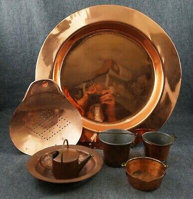 COPPER - Miniature BUCKETS, WATERING CAN & POT - SIEVE, BOWL & PLATE - UK & SE](Copper Buckets)