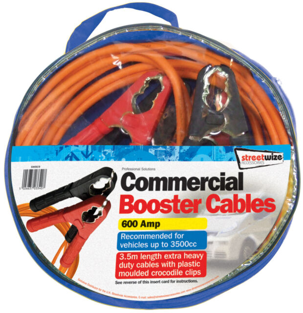 Car Battery Booster Cables 3.5 m X HD Clips 600 Amp for up to 3500cc SWBC9