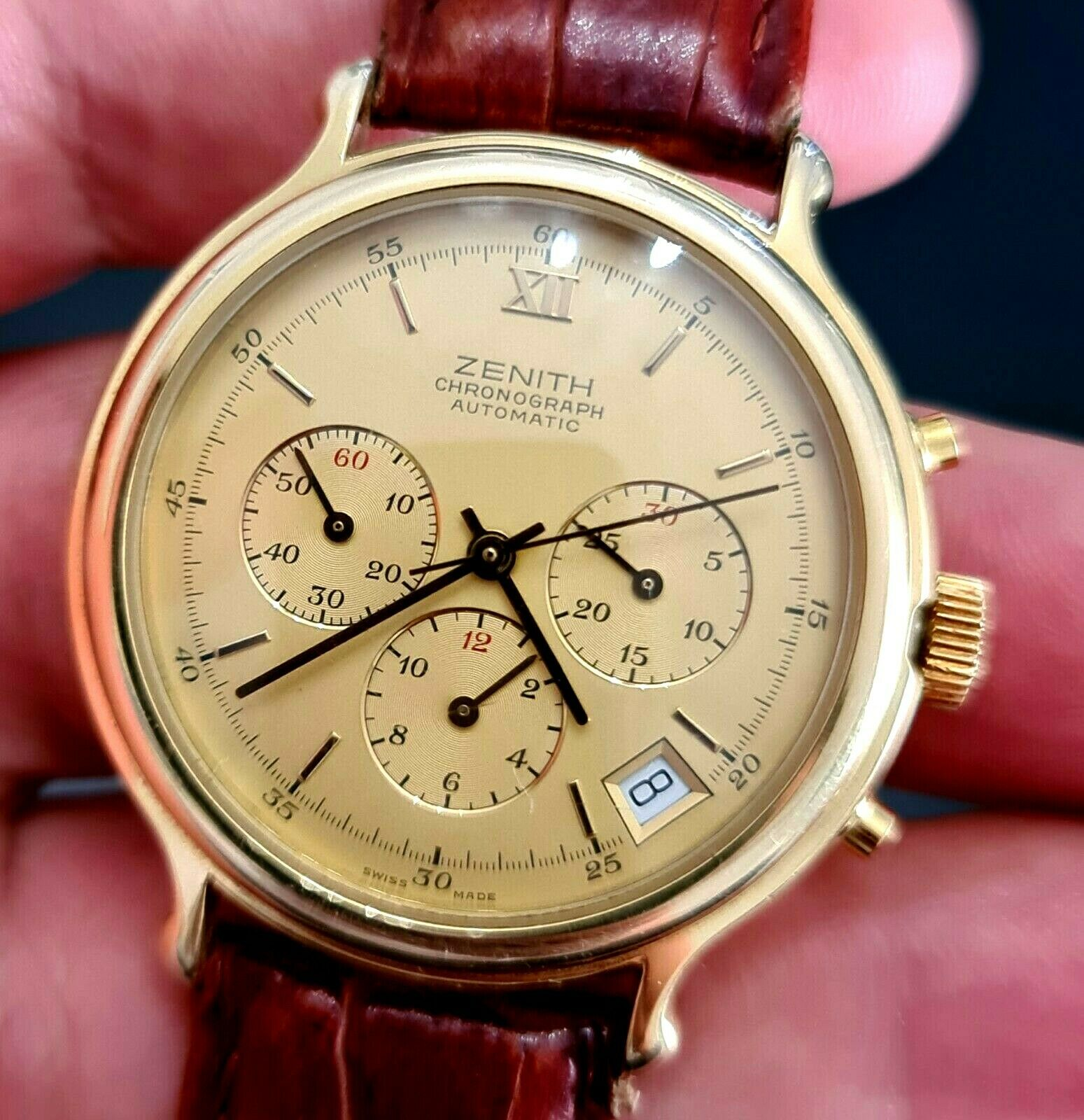 ZENITH EL PRIMERO CHRONOGRAPH MENS AUTOMATIC  WATCH GOLD PLATED - watch picture 1
