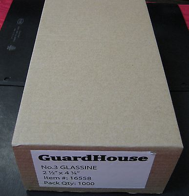 GUARDHOUSE BRAND GLASSINE ENVELOPE SIZE #3. BOX OF 1000 COUNT. 2 1/2