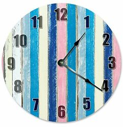 BLUE PINK WHITE Colored Wood Boards Clock - Large 10.5 Wall Clock - 2283