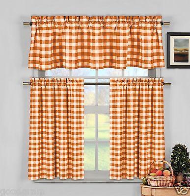 - Orange Gingham Checkered Plaid Kitchen Tier Curtain Valance Set By Duck River