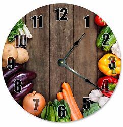 VEGETABLES CLOCK - Large 10.5 Wall Clock - Kitchen Clock - 2280