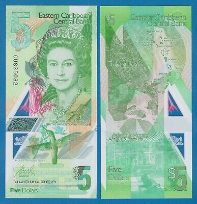 East Caribbean States 5 Dollars P New 2021 Polymer UNC QE II Queen Elizabeth II