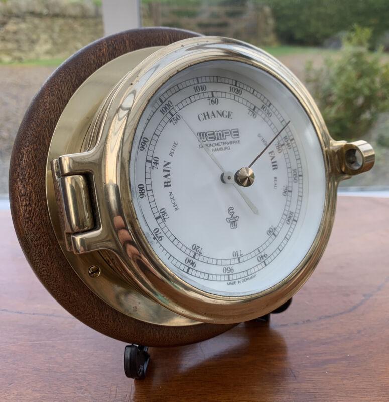 Wempe Hamburg Brass Ships Bulkhead Barometer Vintage