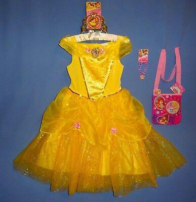 Disney Belle Princess Deluxe dress girls 4-6X-7-8-Tiara-Bracelet-Ring-Purse-LOT