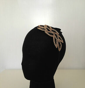 VINTAGE ART DECO 1920s BLACK GOLD BEADED HAIR PIECE HEADBAND WEDDING BRIDAL PROM