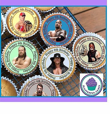 IRTHDAY CUPCAKE TOPPERS WAFER PAPER, ICING OR PRE-CUT WAFER (Wwe Cupcake Toppers)