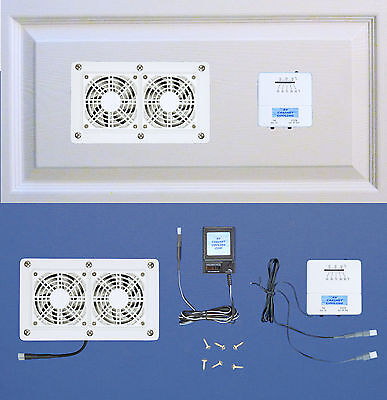 Cabinet/Desk AV Cooling fans with adjustable thermostat & multispeed/white model