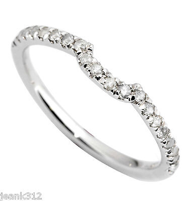 14K White Gold CURVED Wedding Ring Band 0.20 Carat Classic Traditional (Ring Guard Band)