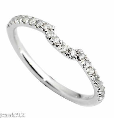 14K White Gold CURVED Wedding Ring Band 0.20 Carat Classic T