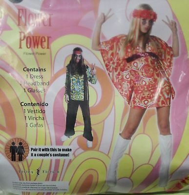 Flower Power Halloween Costume (HIPPIE FLOWER POWER ADULT MEDIUM WOMEN'S COSTUME Mini Dress Retro Halloween)