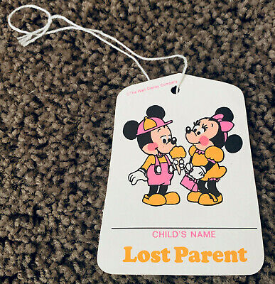 Disneyland Lost Parent long discontinued lost and found kids paper tag