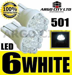 6 LED XENON WHITE 501 T10 W5W SIDELIGHT BULBS VOLKSWAGEN VW POLO GTI TDI