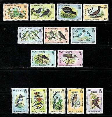 Montserrat stamps #o65 - o78, MNHOG, XFS, full topical set, birds, BOB