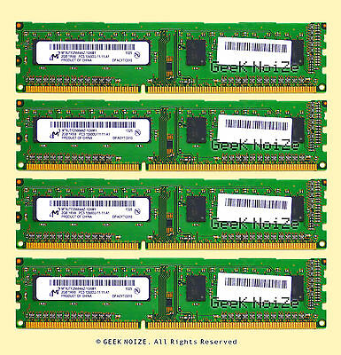 Micron Desktop RAM 8GB 4x 2GB PC3-10600U DDR3 1333 NonECC Unbuffered Memory LOT