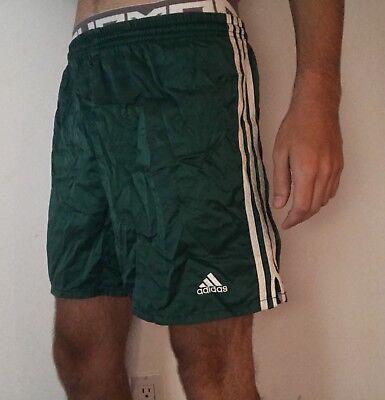 Nylon Satin Shorts - Vintage Adidas Nylon Shorts Green Mens Medium Satin Silk Glanz