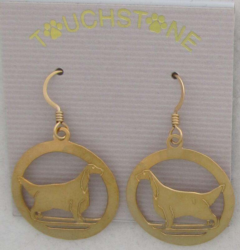 Gordon Setter Jewelry Gold Dangle Earrings by Touchstone