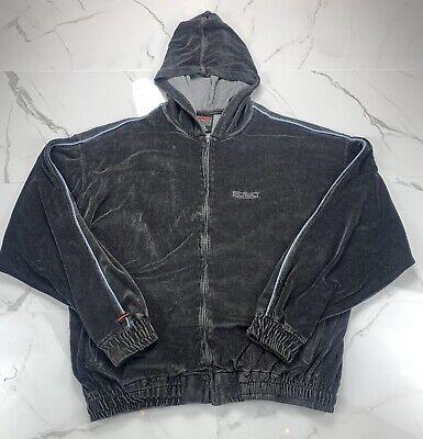 Vintage 90s Fubu Sport Blue Velour Full Zip Hoodie Track Jacket Size XL Men's