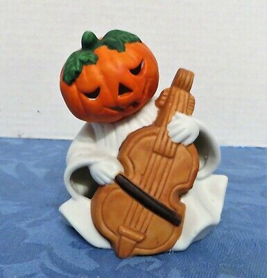 Collectible Halloween Ceramic Musical Ghost with Jack-O-Lantern Head