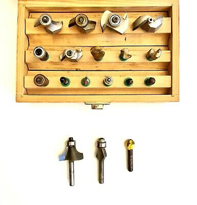 Router Bit Set 15-pc Plus 3 Addl Bits Wood Storage Box