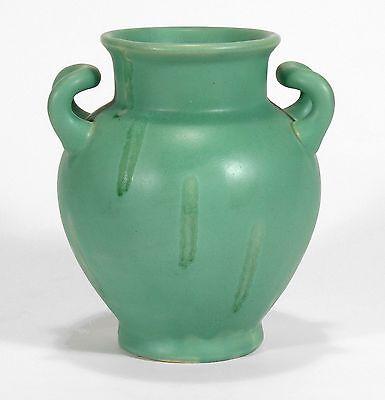 Camark Pottery matte green Arts & Crafts 2 handled drip vase Camden Arkansas