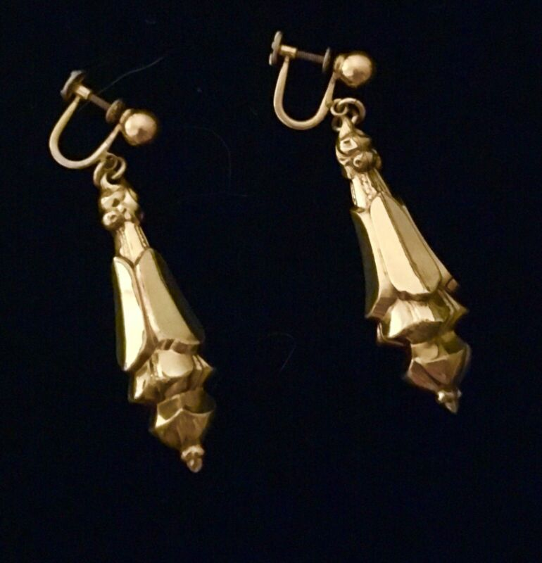 Beautiful Vintage 1/20 12K Gold Filled Dangle Drop Screw Back Earrings